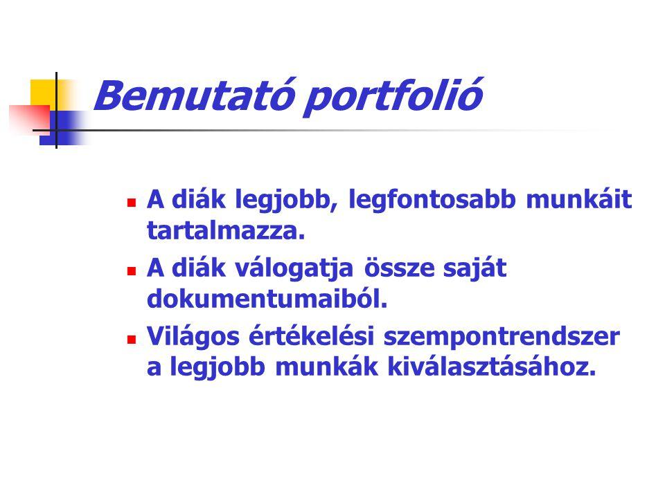 Bemutató portfolió A diák legjobb, legfontosabb munkáit tartalmazza.