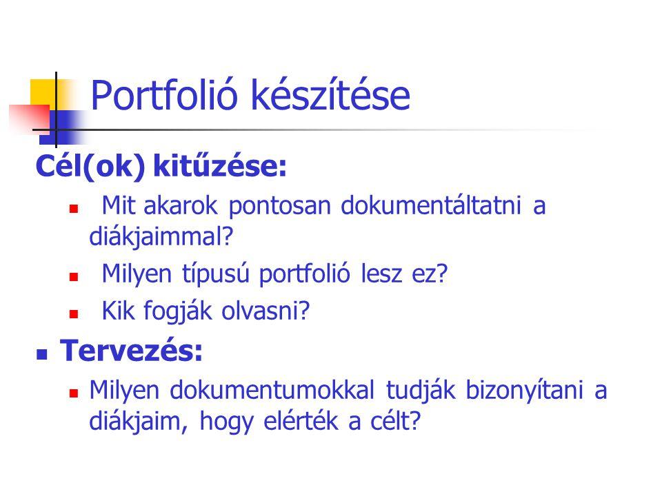 Portfolió készítése Cél(ok) kitűzése: Tervezés: