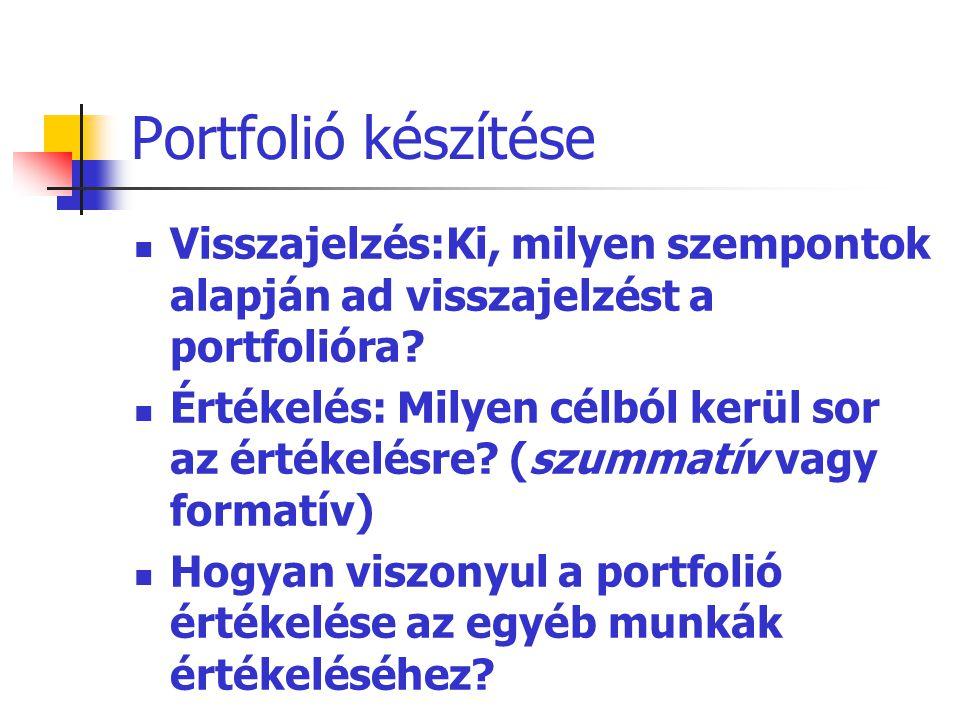 Portfolió készítése Visszajelzés:Ki, milyen szempontok alapján ad visszajelzést a portfolióra