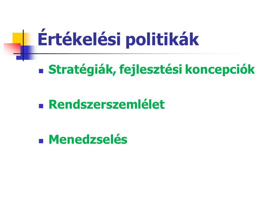 Értékelési politikák Stratégiák, fejlesztési koncepciók
