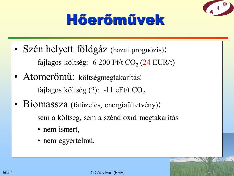 Hőerőművek Szén helyett földgáz (hazai prognózis): fajlagos költség: 6 200 Ft/t CO2 (24 EUR/t)
