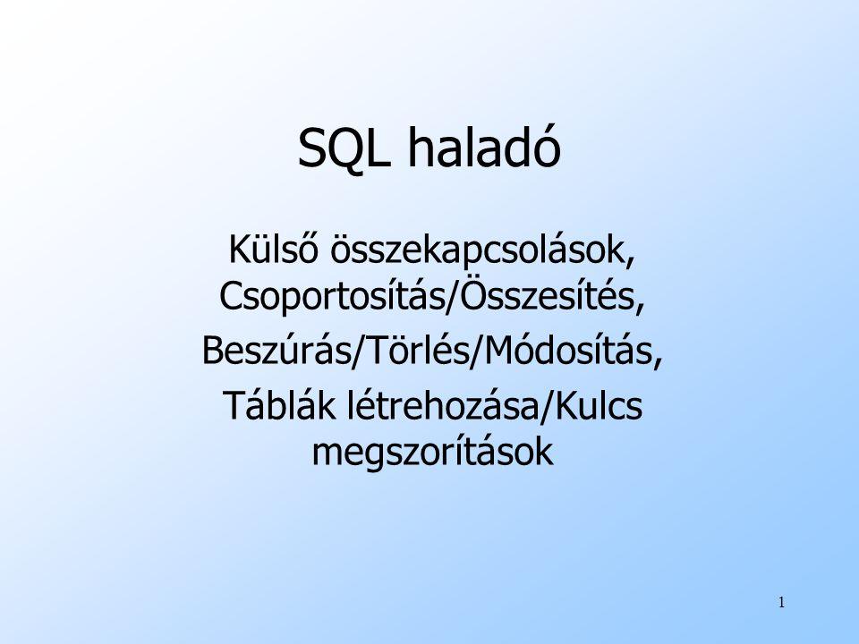 SQL haladó Külső összekapcsolások, Csoportosítás/Összesítés,