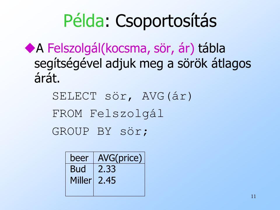Példa: Csoportosítás A Felszolgál(kocsma, sör, ár) tábla segítségével adjuk meg a sörök átlagos árát.