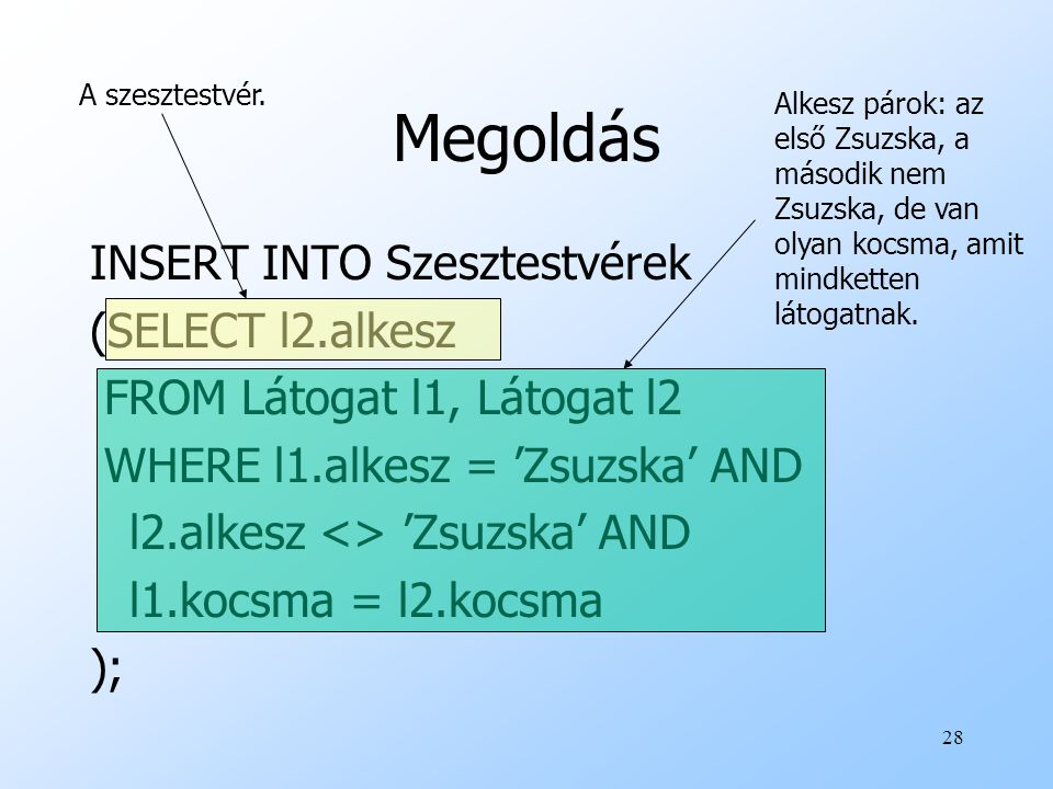 Megoldás INSERT INTO Szesztestvérek (SELECT l2.alkesz