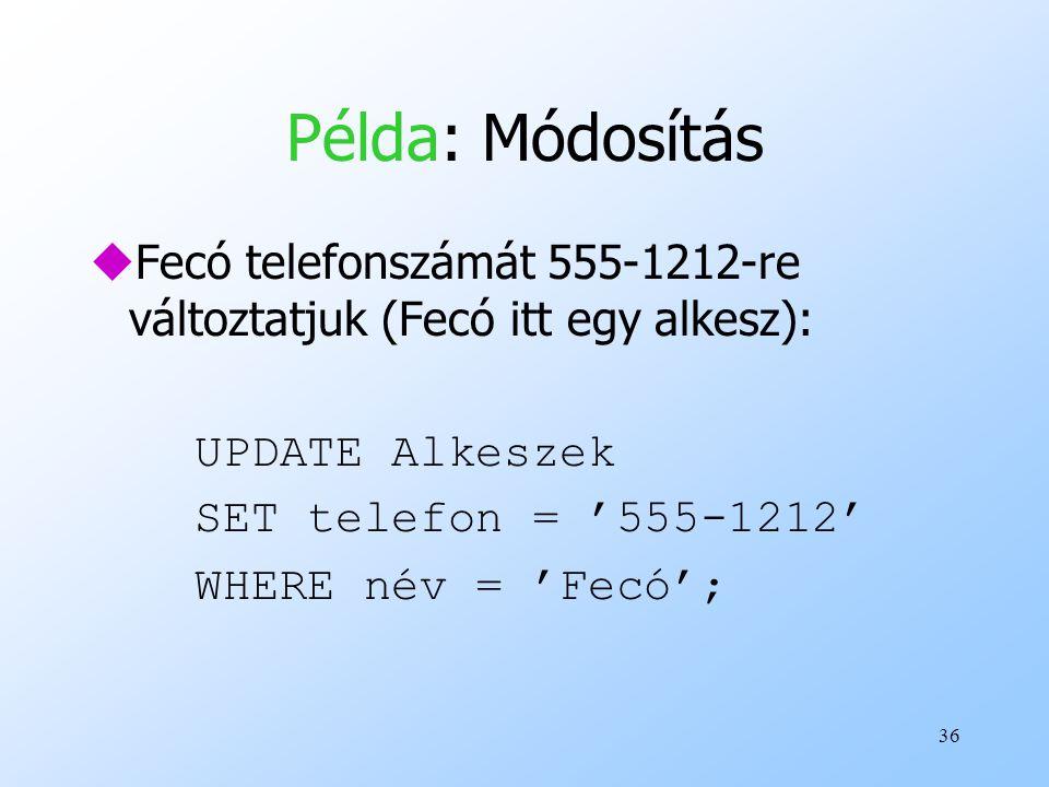 Példa: Módosítás Fecó telefonszámát 555-1212-re változtatjuk (Fecó itt egy alkesz): UPDATE Alkeszek.