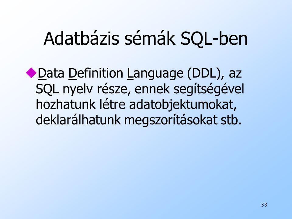 Adatbázis sémák SQL-ben