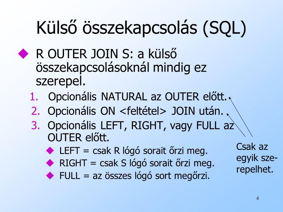 Külső összekapcsolás (SQL)