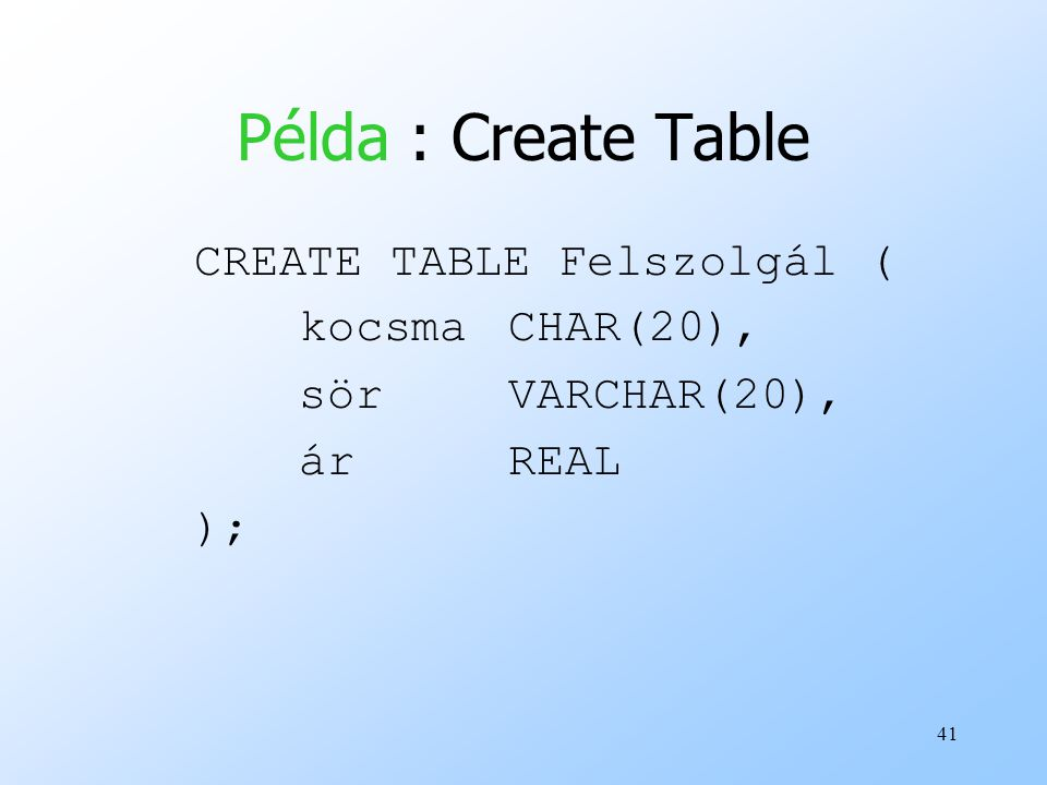 Példa : Create Table CREATE TABLE Felszolgál ( kocsma CHAR(20),