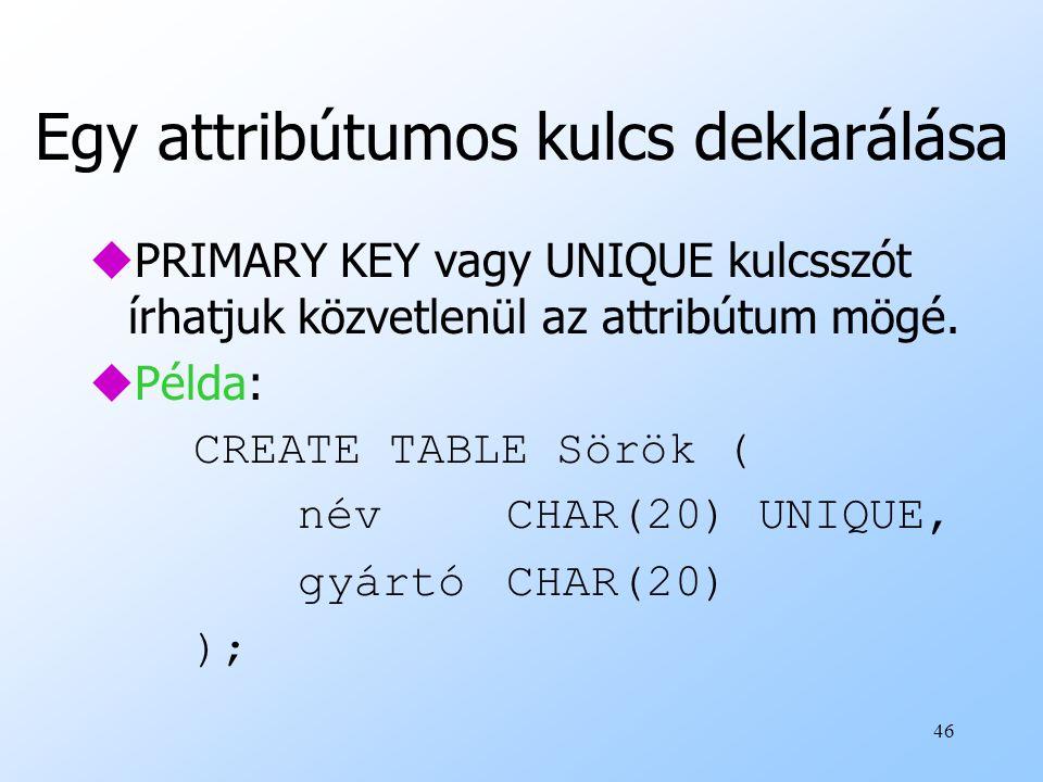 Egy attribútumos kulcs deklarálása