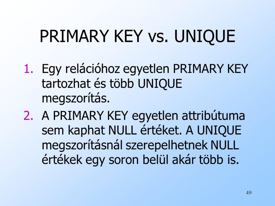 PRIMARY KEY vs. UNIQUE Egy relációhoz egyetlen PRIMARY KEY tartozhat és több UNIQUE megszorítás.