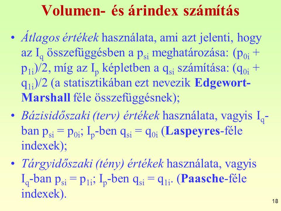 Volumen- és árindex számítás