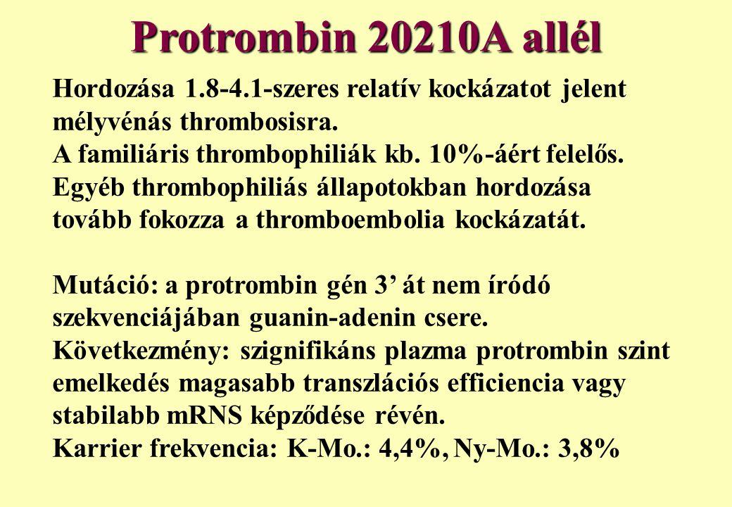 Protrombin 20210A allél Hordozása 1.8-4.1-szeres relatív kockázatot jelent mélyvénás thrombosisra. A familiáris thrombophiliák kb. 10%-áért felelős.