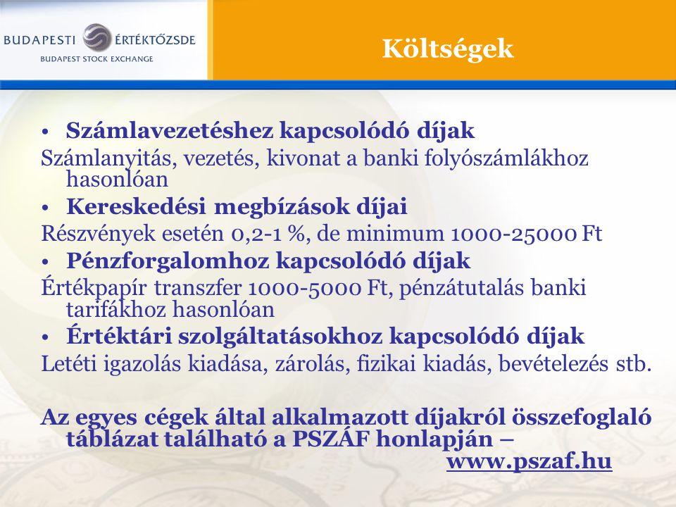 Költségek Számlavezetéshez kapcsolódó díjak