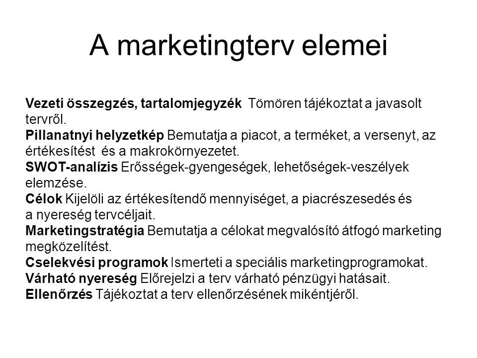 A marketingterv elemei