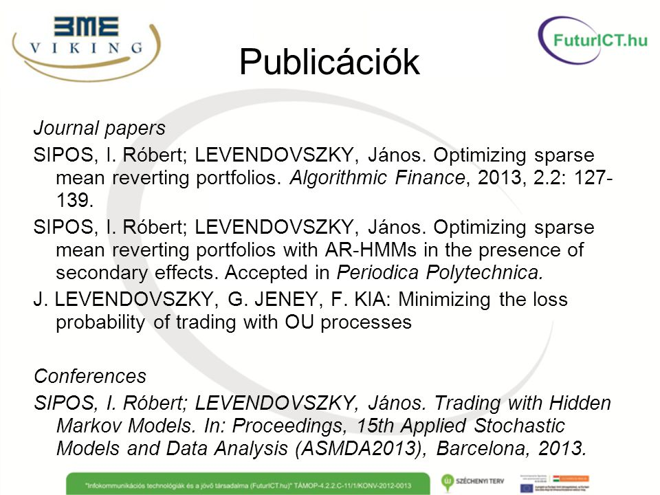 Publicációk Journal papers