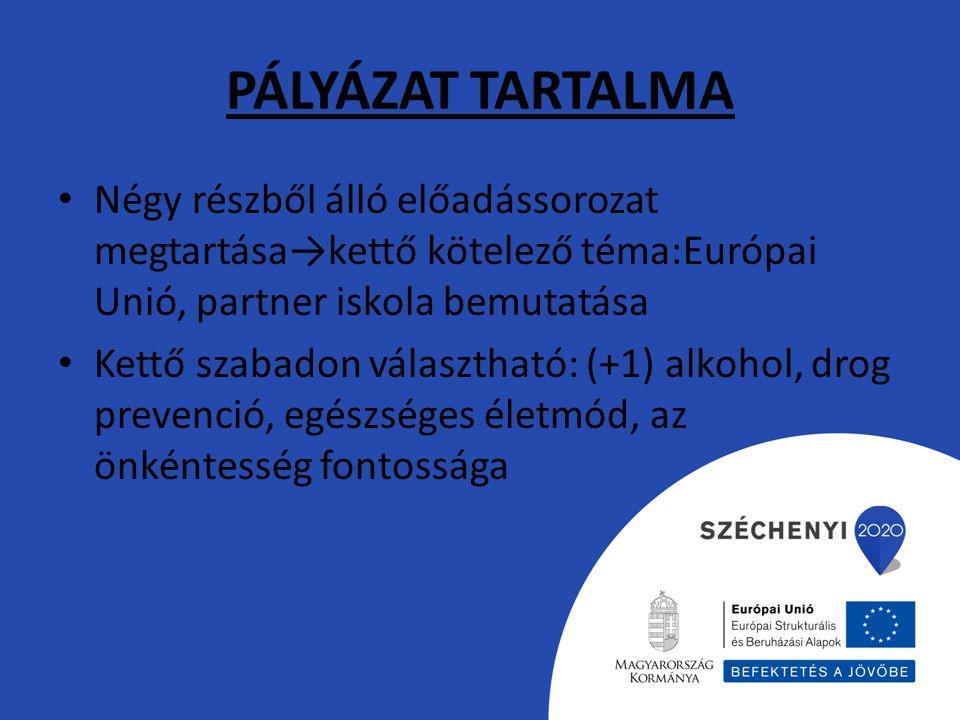 PÁLYÁZAT TARTALMA Négy részből álló előadássorozat megtartása→kettő kötelező téma:Európai Unió, partner iskola bemutatása.