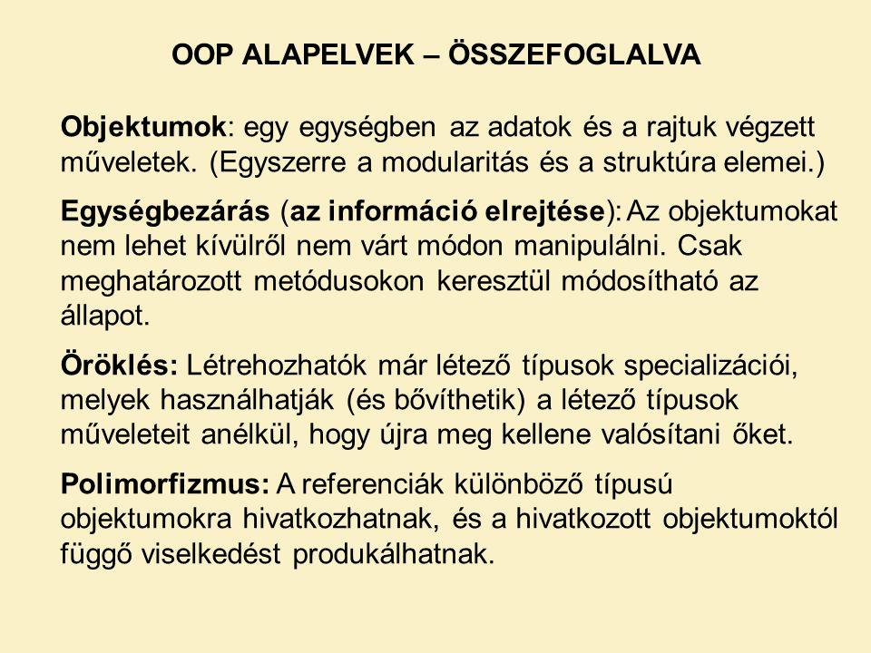 OOP ALAPELVEK – ÖSSZEFOGLALVA