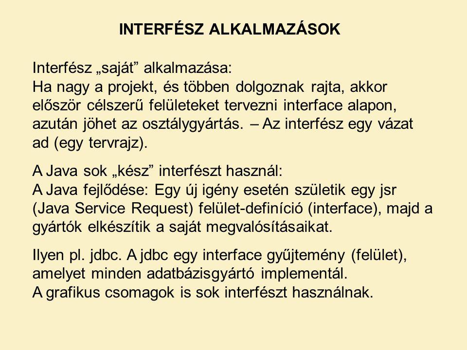 INTERFÉSZ ALKALMAZÁSOK