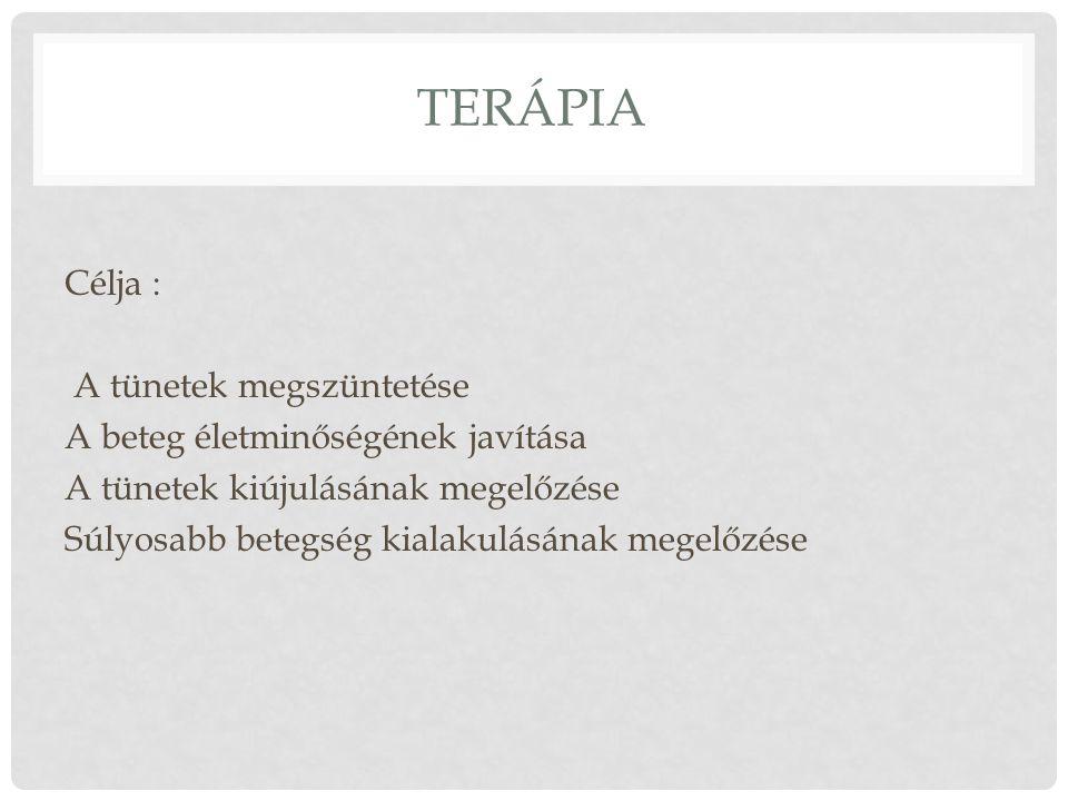 Terápia Célja : A tünetek megszüntetése