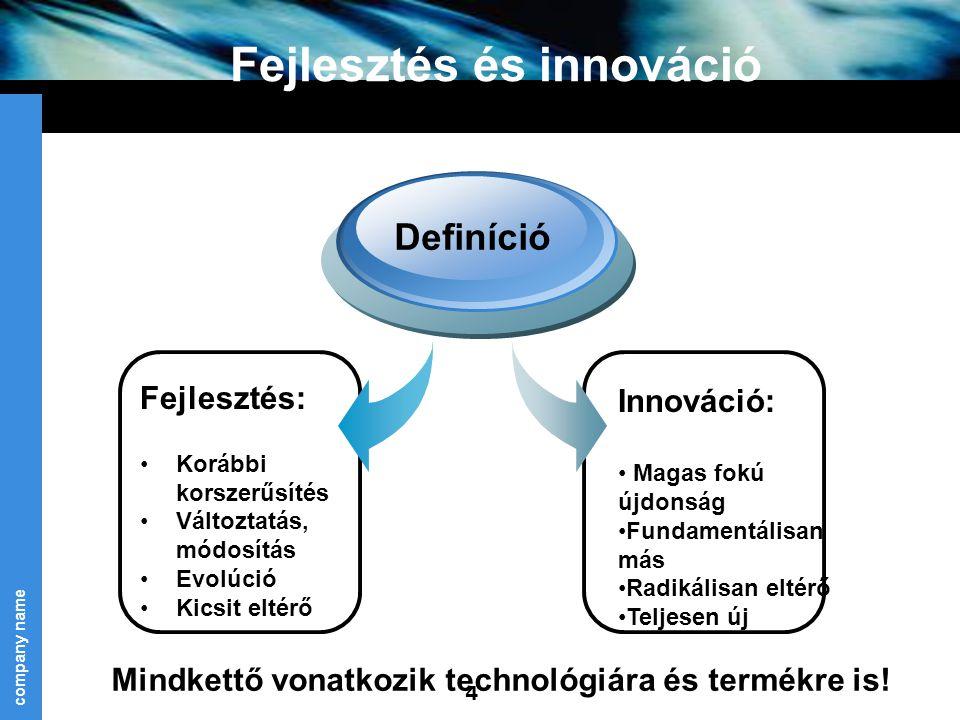 Fejlesztés és innováció