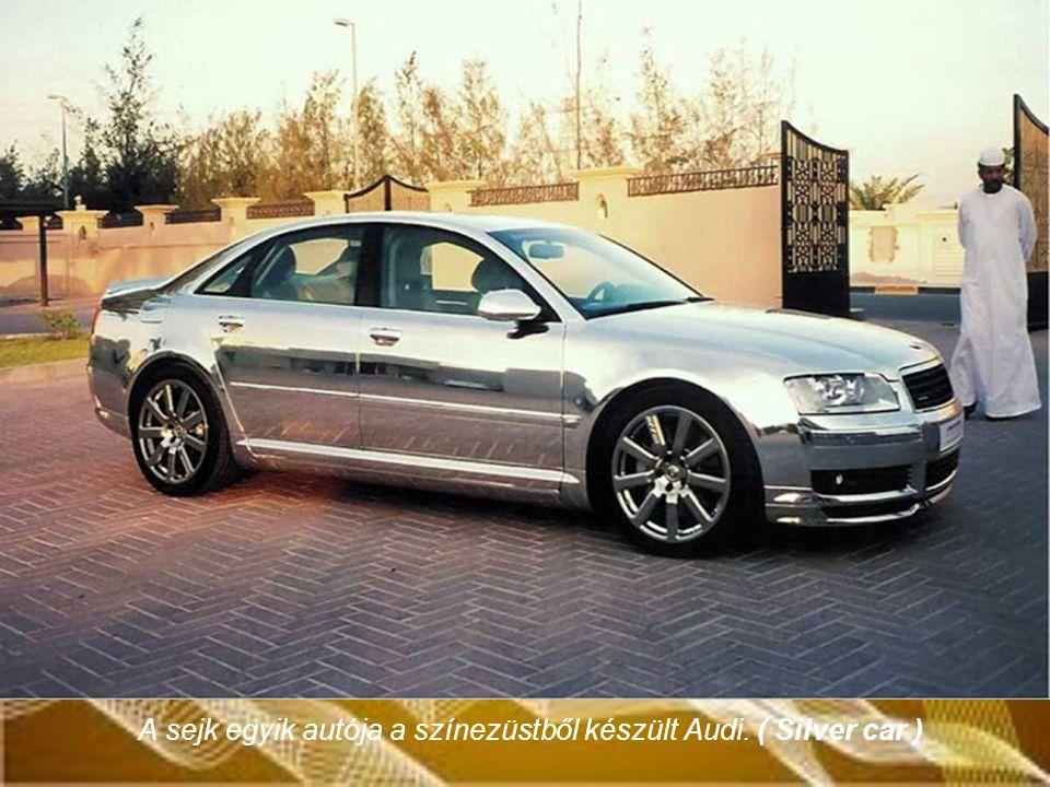 A sejk egyik autója a színezüstből készült Audi. ( Silver car )