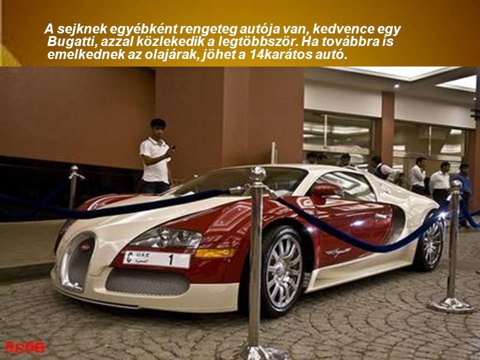 A sejknek egyébként rengeteg autója van, kedvence egy Bugatti, azzal közlekedik a legtöbbször.