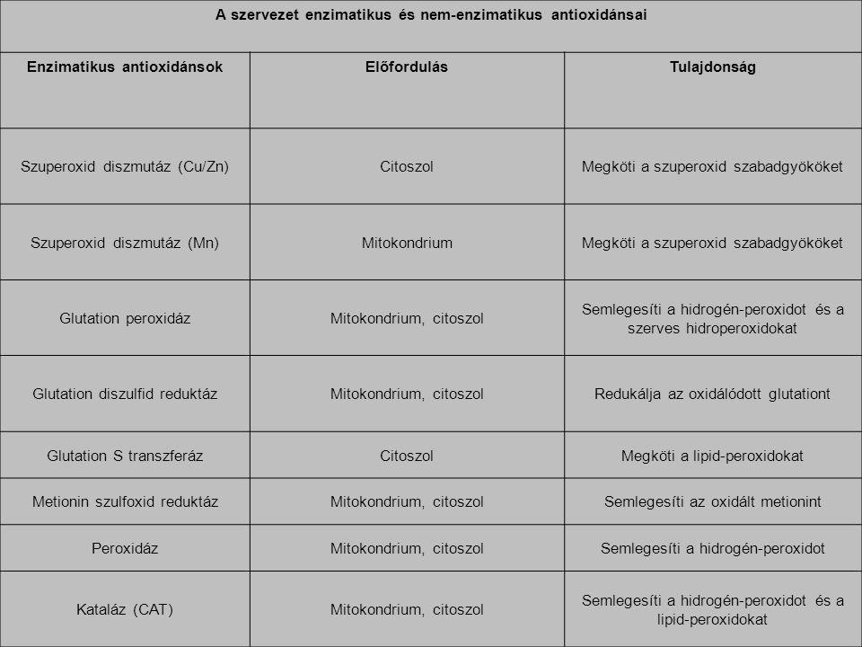 A szervezet enzimatikus és nem-enzimatikus antioxidánsai