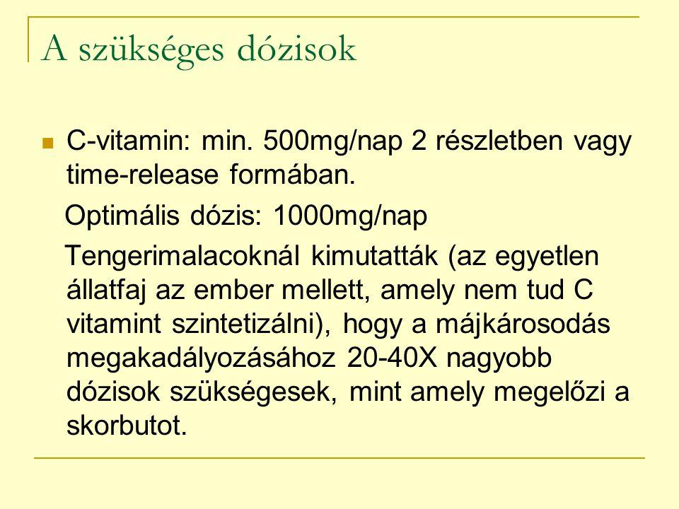 A szükséges dózisok C-vitamin: min. 500mg/nap 2 részletben vagy time-release formában. Optimális dózis: 1000mg/nap.