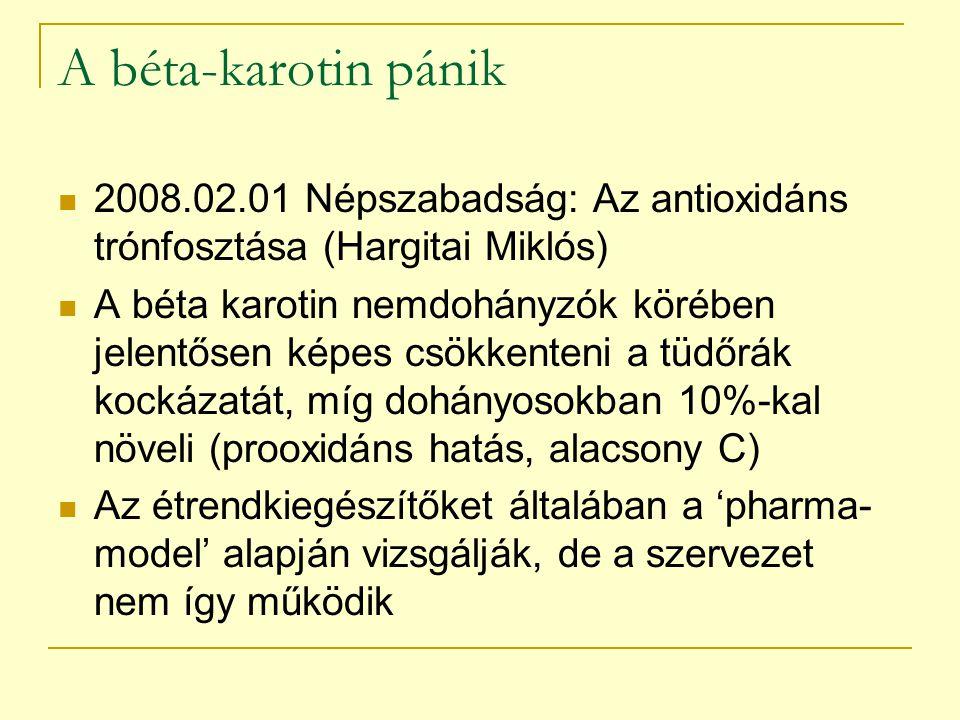 A béta-karotin pánik 2008.02.01 Népszabadság: Az antioxidáns trónfosztása (Hargitai Miklós)