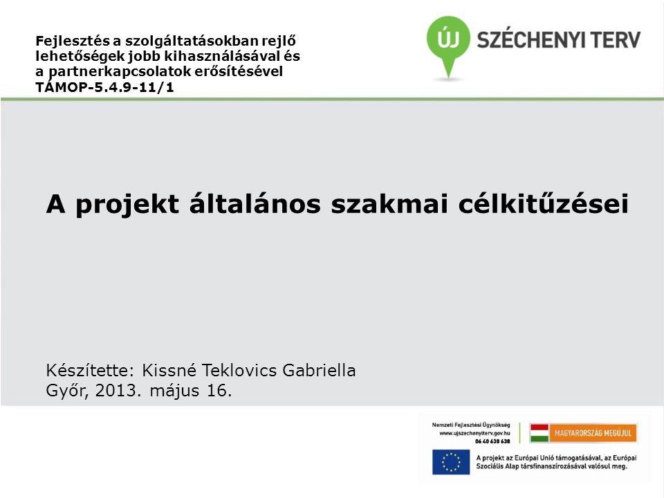 A projekt általános szakmai célkitűzései