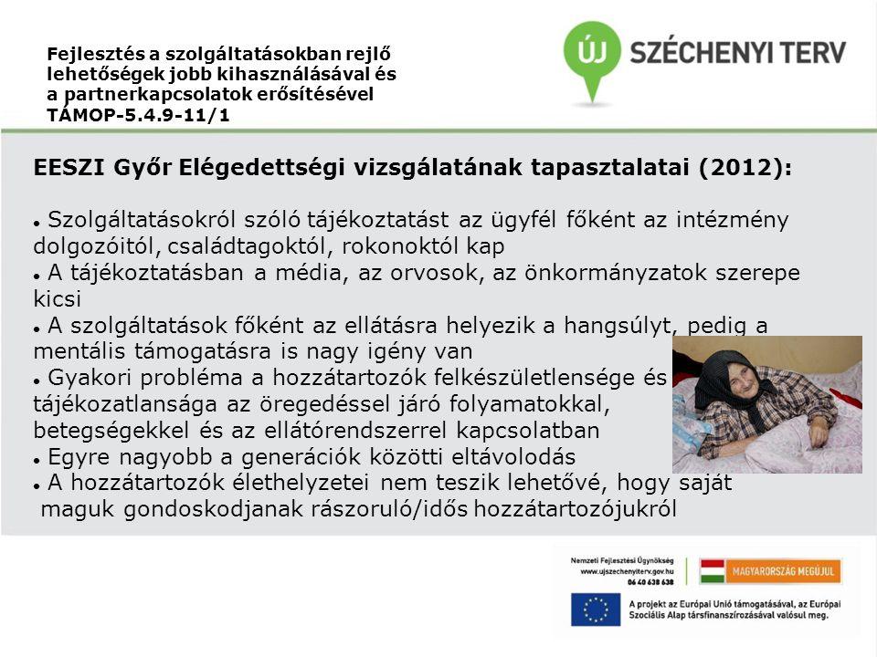 EESZI Győr Elégedettségi vizsgálatának tapasztalatai (2012):