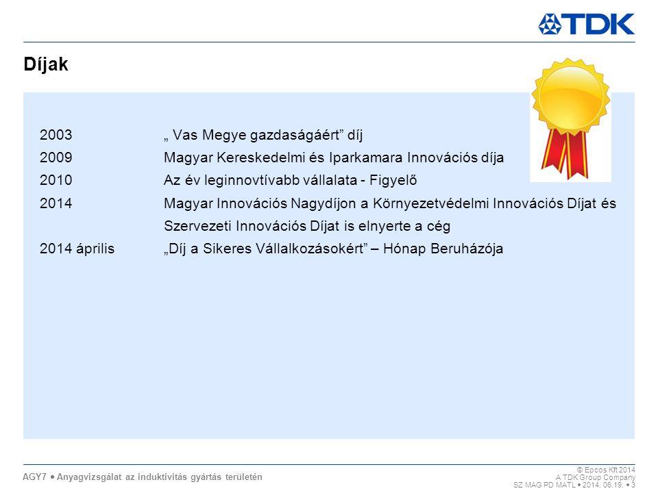 """Díjak 2003 """" Vas Megye gazdaságáért díj"""
