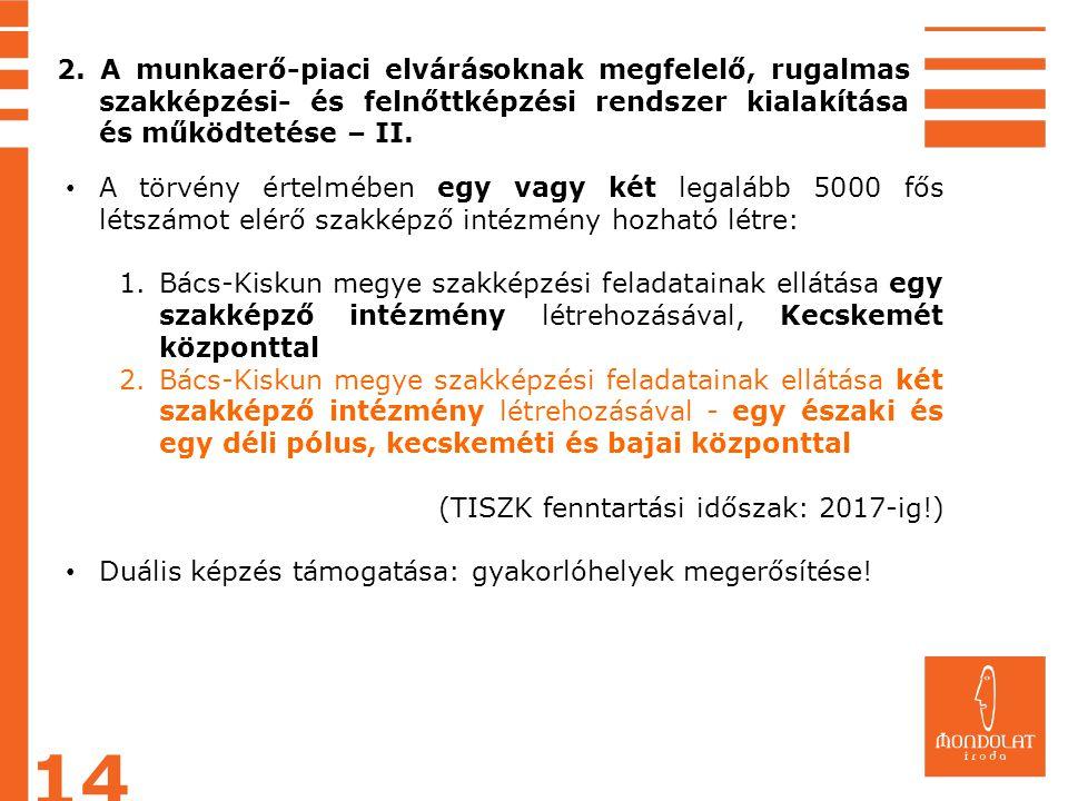 2. A munkaerő-piaci elvárásoknak megfelelő, rugalmas szakképzési- és felnőttképzési rendszer kialakítása és működtetése – II.