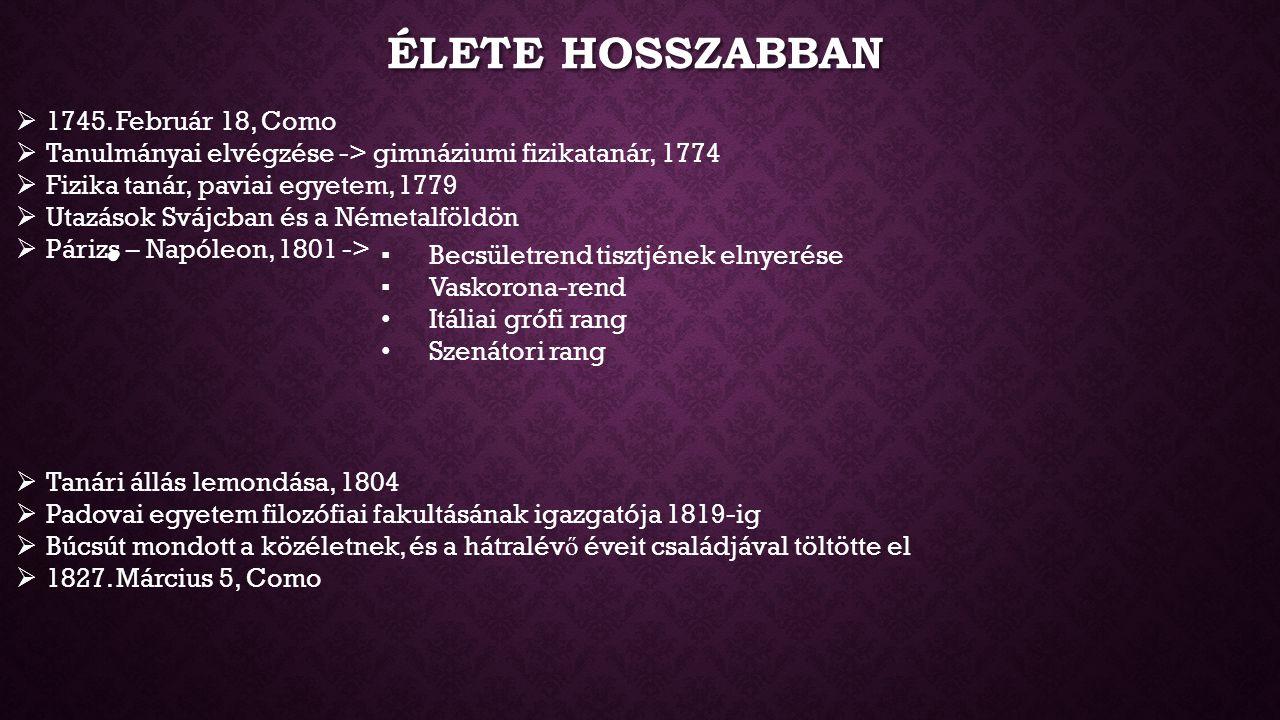 Élete hosszabban 1745. Február 18, Como