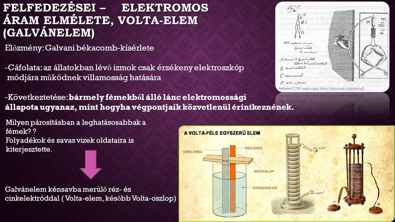 Felfedezései – Elektromos áram elmélete, Volta-elem (Galvánelem)