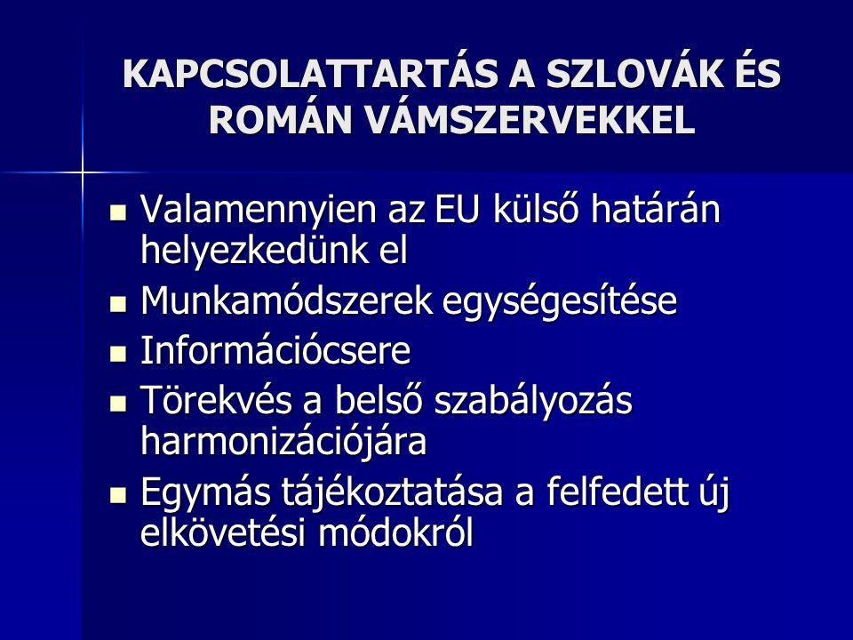 KAPCSOLATTARTÁS A SZLOVÁK ÉS ROMÁN VÁMSZERVEKKEL