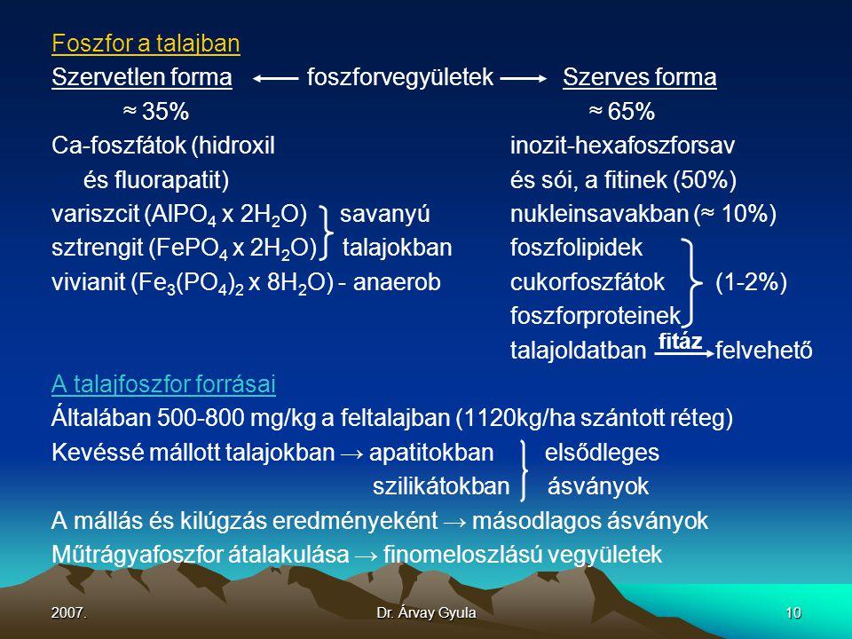 Szervetlen forma foszforvegyületek Szerves forma ≈ 35% ≈ 65%