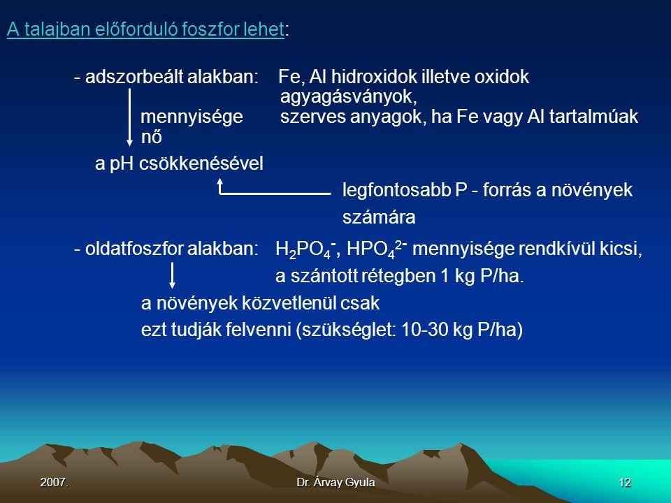 A talajban előforduló foszfor lehet: