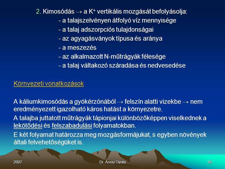 2. Kimosódás → a K+ vertikális mozgását befolyásolja: