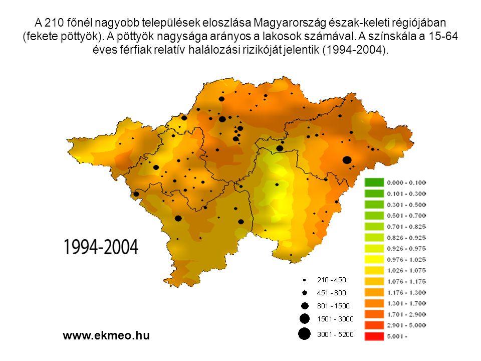 A 210 főnél nagyobb települések eloszlása Magyarország észak-keleti régiójában (fekete pöttyök). A pöttyök nagysága arányos a lakosok számával. A színskála a 15-64 éves férfiak relatív halálozási rizikóját jelentik (1994-2004).