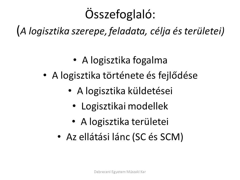Összefoglaló: (A logisztika szerepe, feladata, célja és területei)