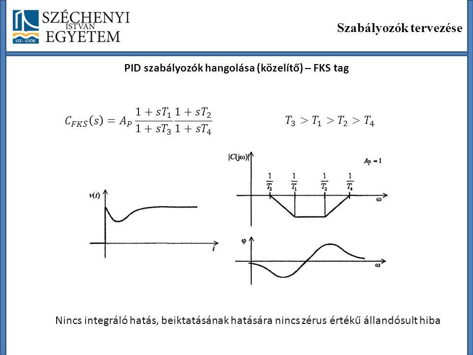 PID szabályozók hangolása (közelítő) – FKS tag