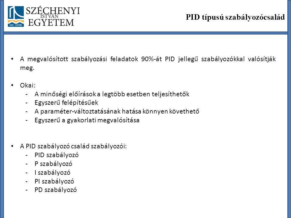 PID típusú szabályozócsalád