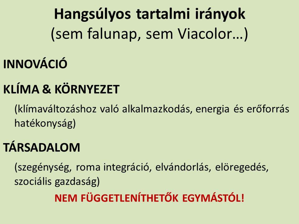 Hangsúlyos tartalmi irányok (sem falunap, sem Viacolor…)