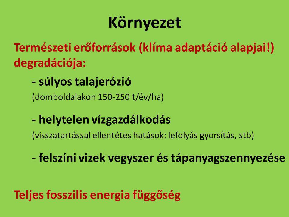 Környezet Természeti erőforrások (klíma adaptáció alapjai!) degradációja: - súlyos talajerózió. (domboldalakon 150-250 t/év/ha)