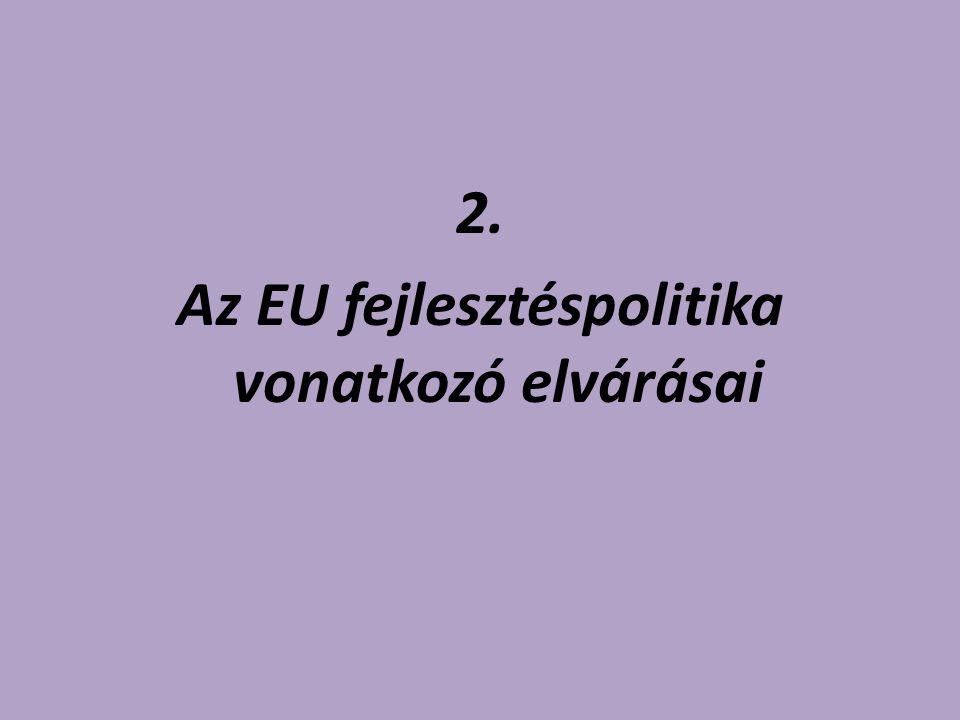 Az EU fejlesztéspolitika vonatkozó elvárásai