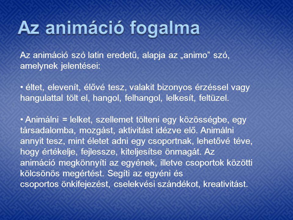 """Az animáció fogalma Az animáció szó latin eredetű, alapja az """"animo szó, amelynek jelentései:"""