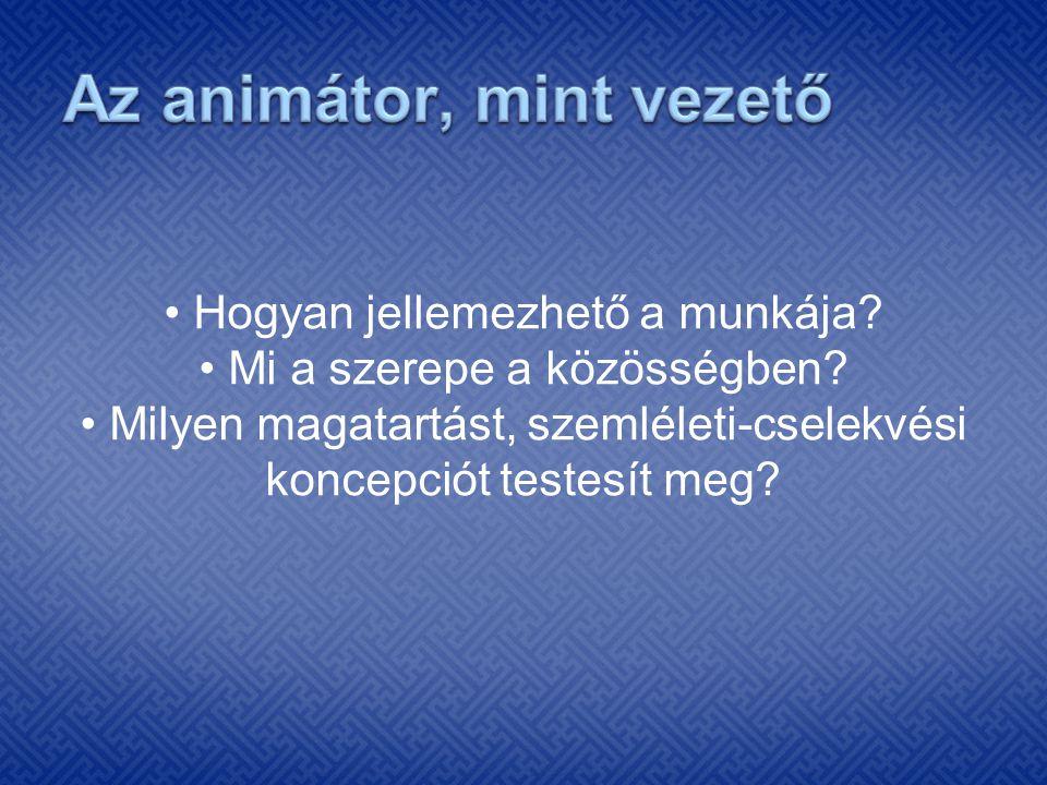Az animátor, mint vezető