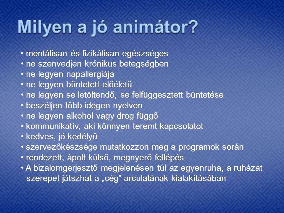 Milyen a jó animátor • mentálisan és fizikálisan egészséges
