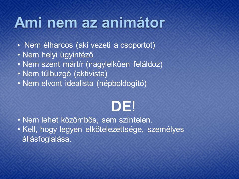 Ami nem az animátor DE! • Nem helyi ügyintéző
